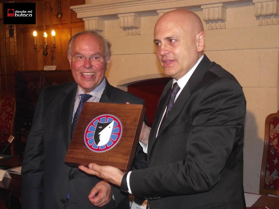 Junto al Rector de la UIMP, César Nombela.